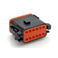 AT06-12SB - 12 Contact Male Plug - Black